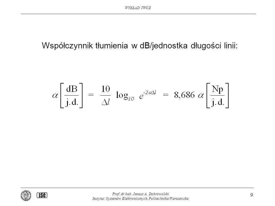 Współczynnik tłumienia w dB/jednostka długości linii: