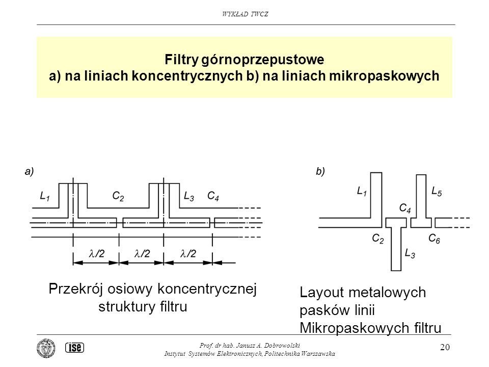 Przekrój osiowy koncentrycznej struktury filtru Layout metalowych
