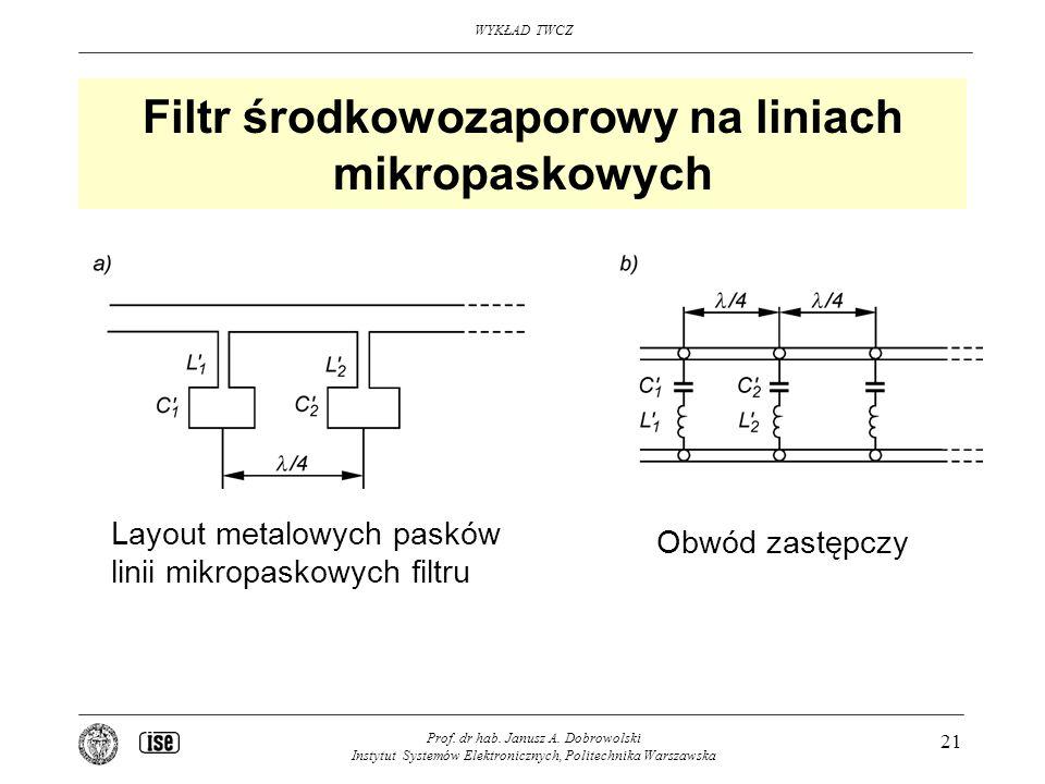 Filtr środkowozaporowy na liniach mikropaskowych