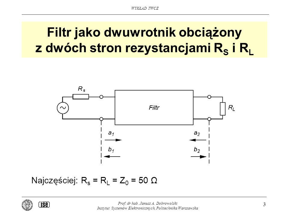 Filtr jako dwuwrotnik obciążony z dwóch stron rezystancjami RS i RL
