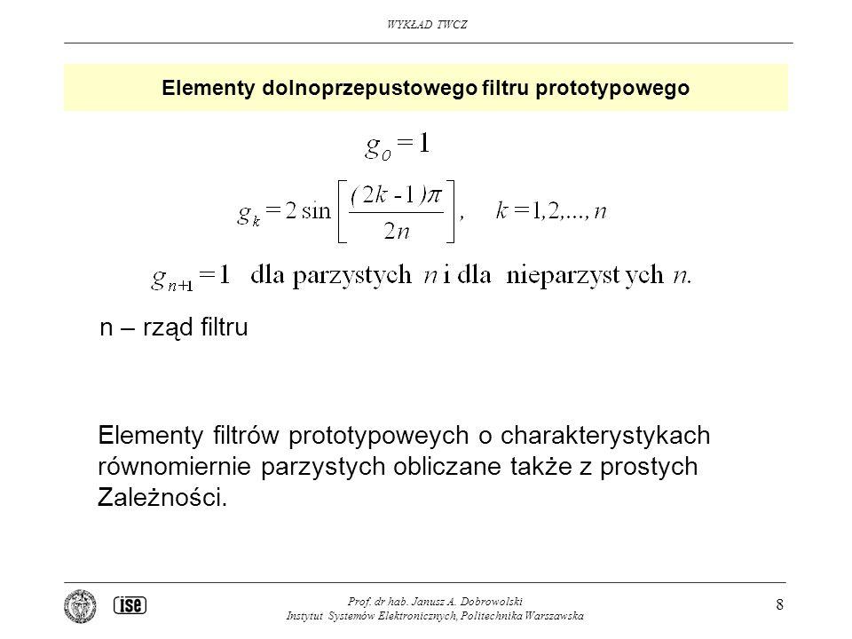 Elementy dolnoprzepustowego filtru prototypowego
