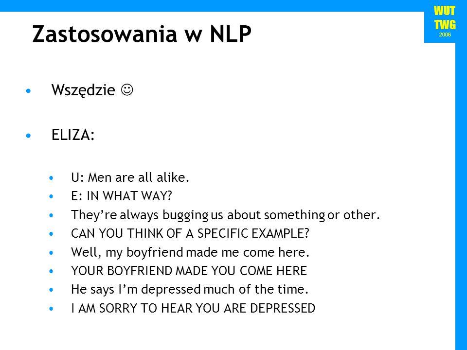 Zastosowania w NLP Wszędzie  ELIZA: U: Men are all alike.