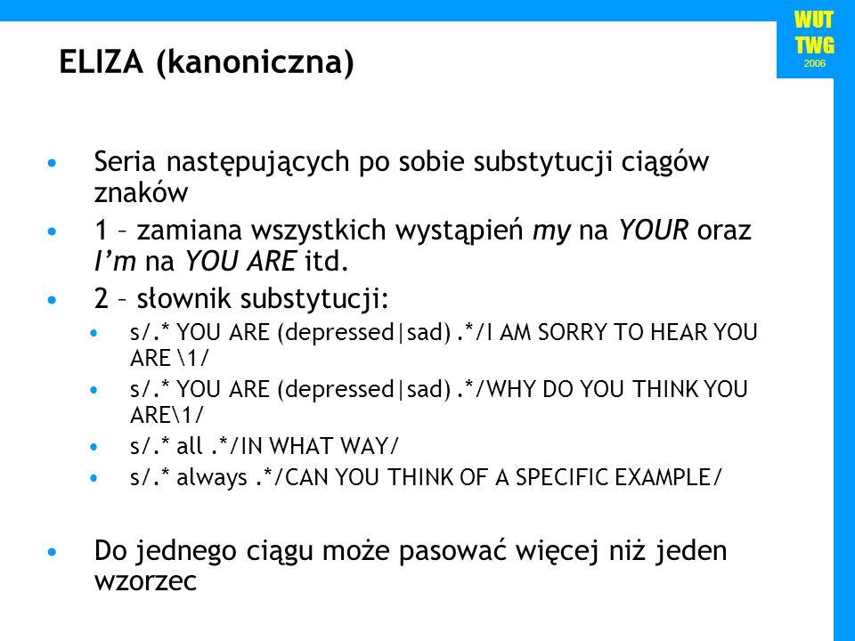 ELIZA (kanoniczna) Seria następujących po sobie substytucji ciągów znaków. 1 – zamiana wszystkich wystąpień my na YOUR oraz I'm na YOU ARE itd.