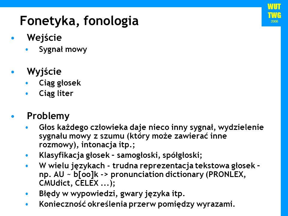Fonetyka, fonologia Wejście Wyjście Problemy Sygnał mowy Ciąg głosek
