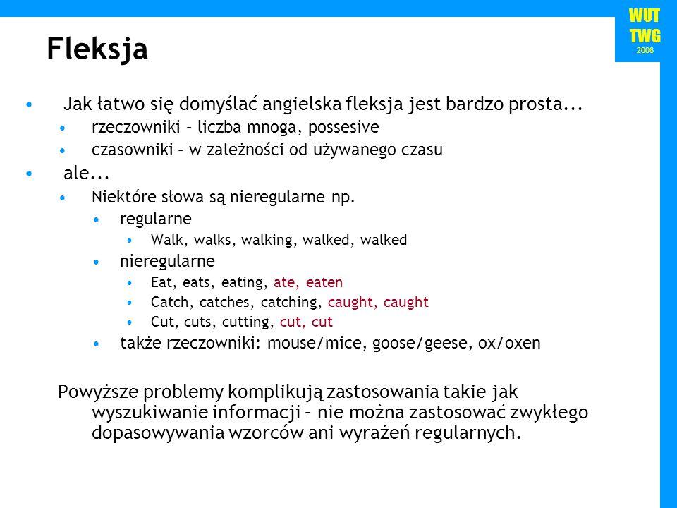 Fleksja Jak łatwo się domyślać angielska fleksja jest bardzo prosta...
