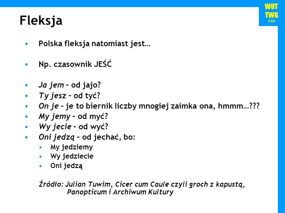 Fleksja Polska fleksja natomiast jest… Np. czasownik JEŚĆ