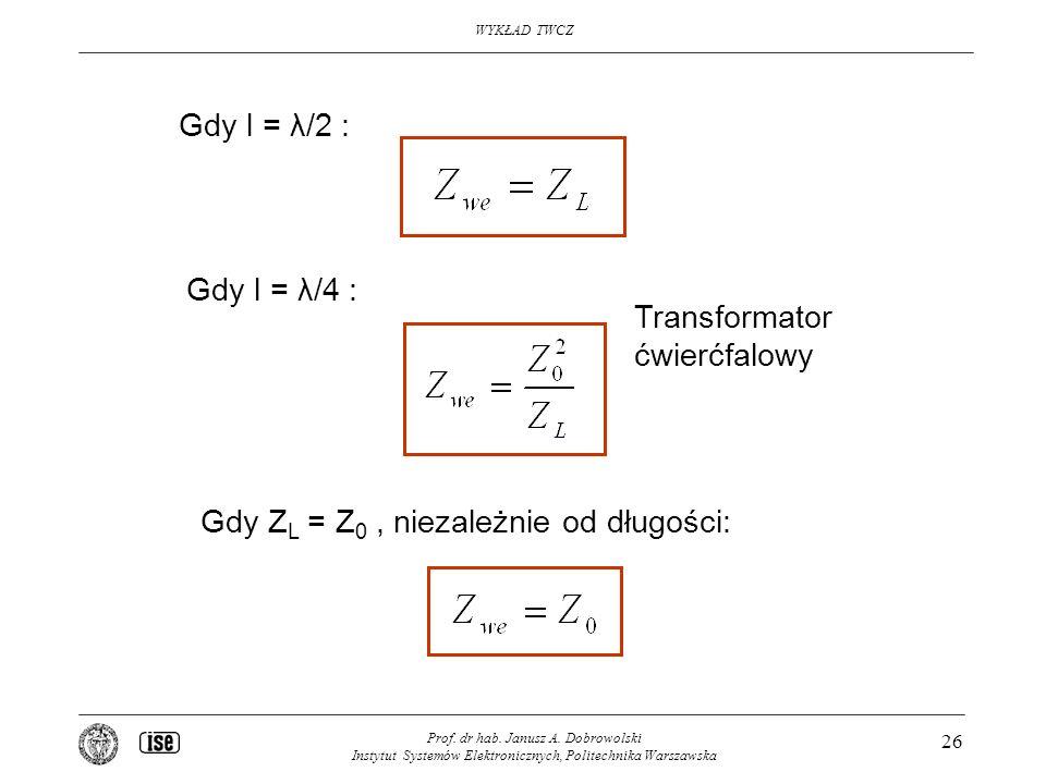 Gdy ZL = Z0 , niezależnie od długości: