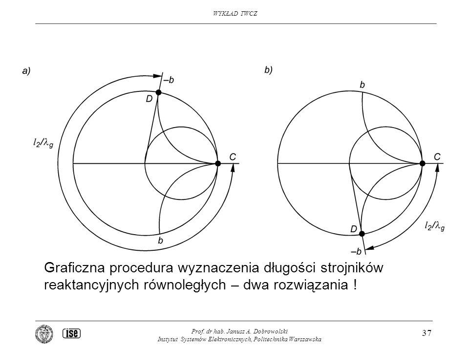 Graficzna procedura wyznaczenia długości strojników