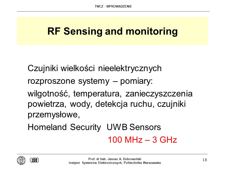 RF Sensing and monitoring