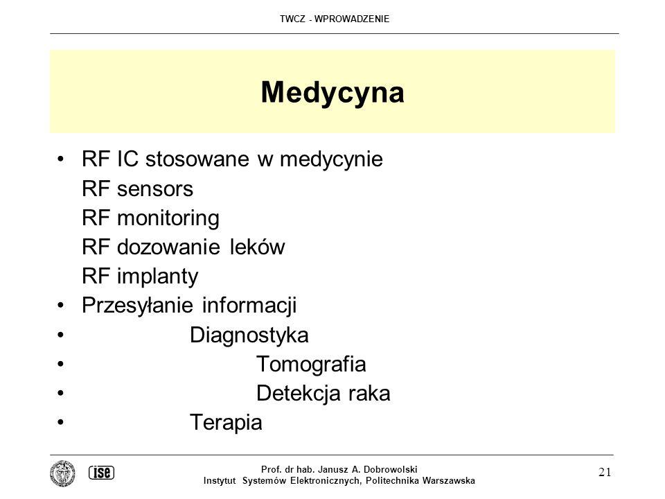 Medycyna RF IC stosowane w medycynie RF sensors RF monitoring