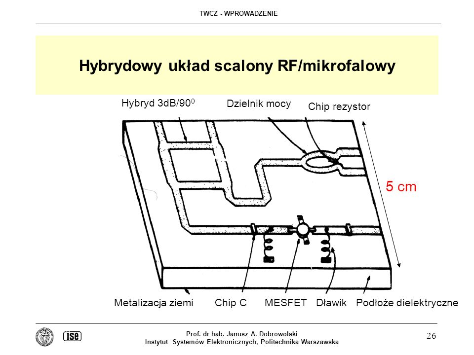 Hybrydowy układ scalony RF/mikrofalowy