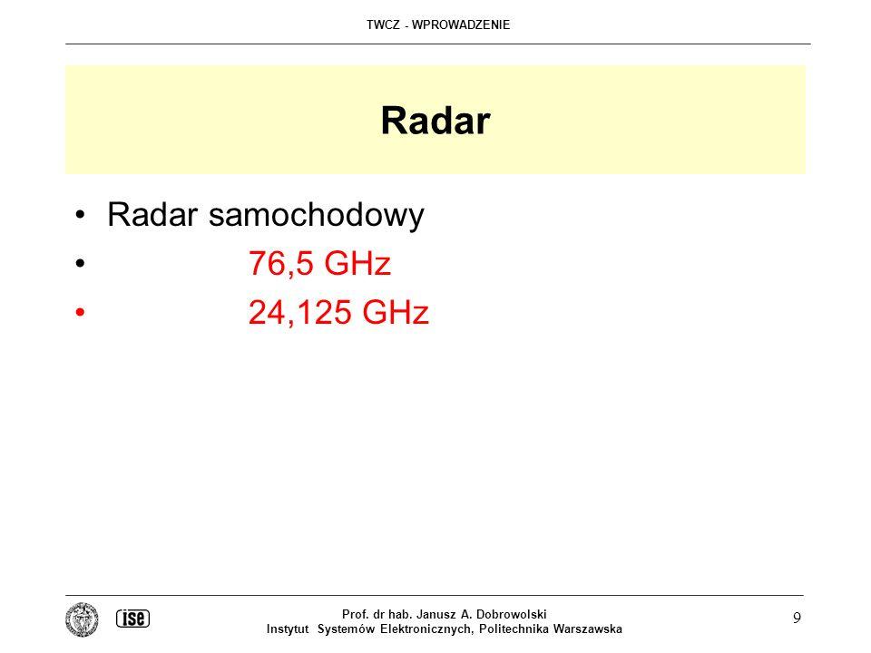 Radar Radar samochodowy 76,5 GHz 24,125 GHz