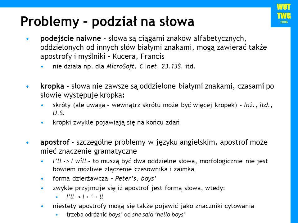 Problemy – podział na słowa