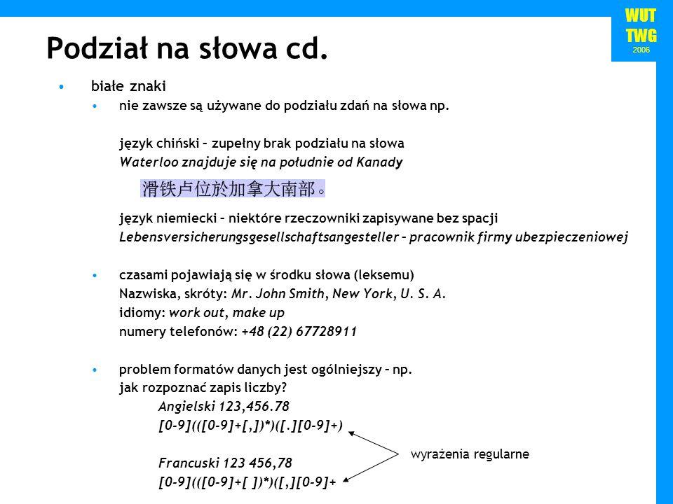Podział na słowa cd. białe znaki