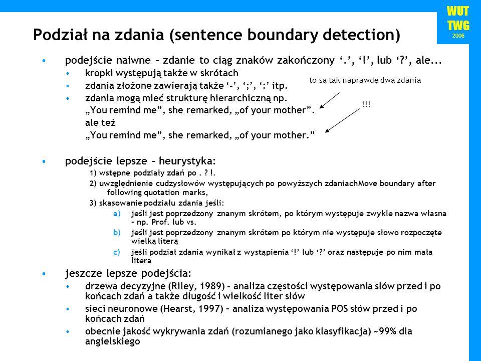 Podział na zdania (sentence boundary detection)