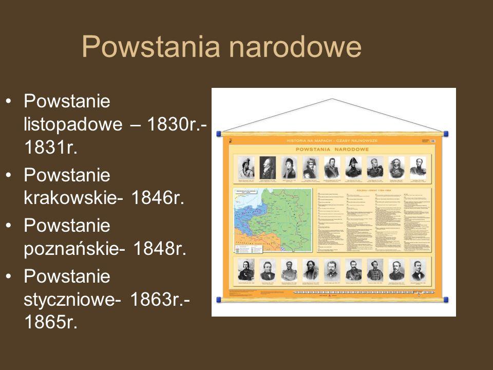 Powstania narodowe Powstanie listopadowe – 1830r.- 1831r.