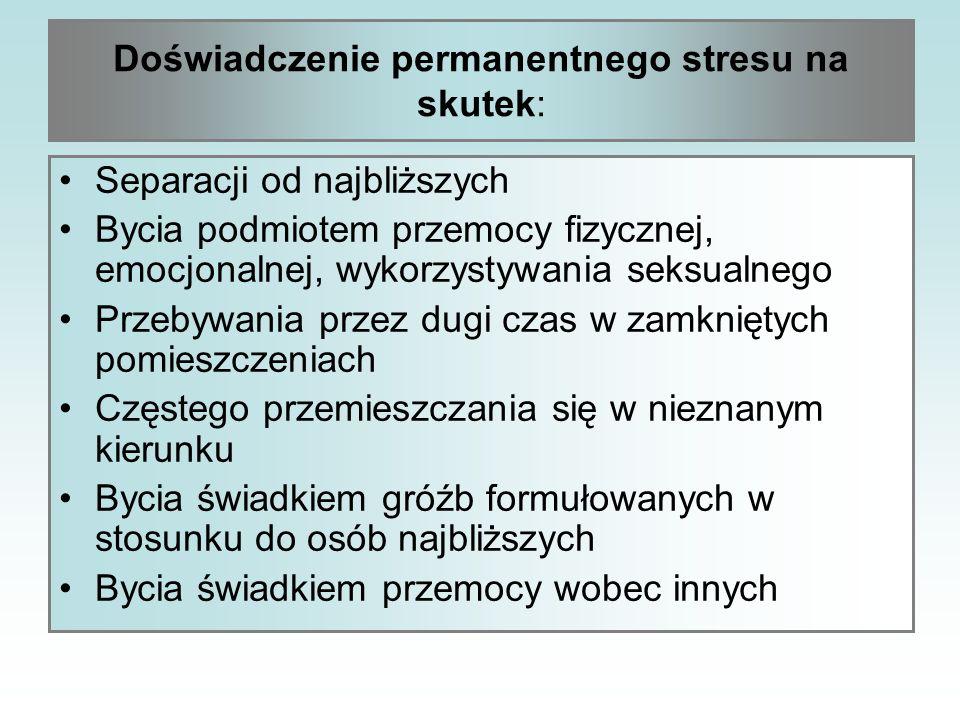 Doświadczenie permanentnego stresu na skutek: