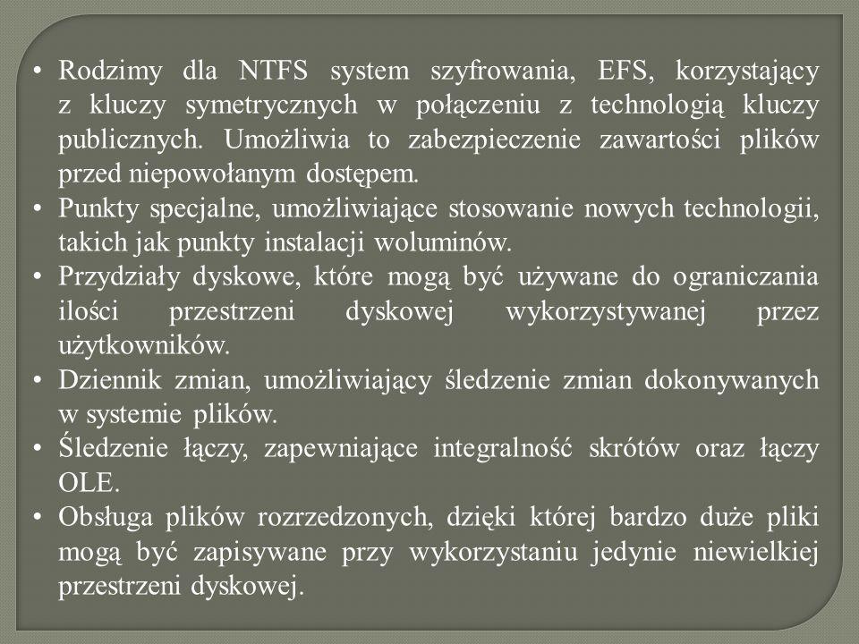 Rodzimy dla NTFS system szyfrowania, EFS, korzystający z kluczy symetrycznych w połączeniu z technologią kluczy publicznych. Umożliwia to zabezpieczenie zawartości plików przed niepowołanym dostępem.