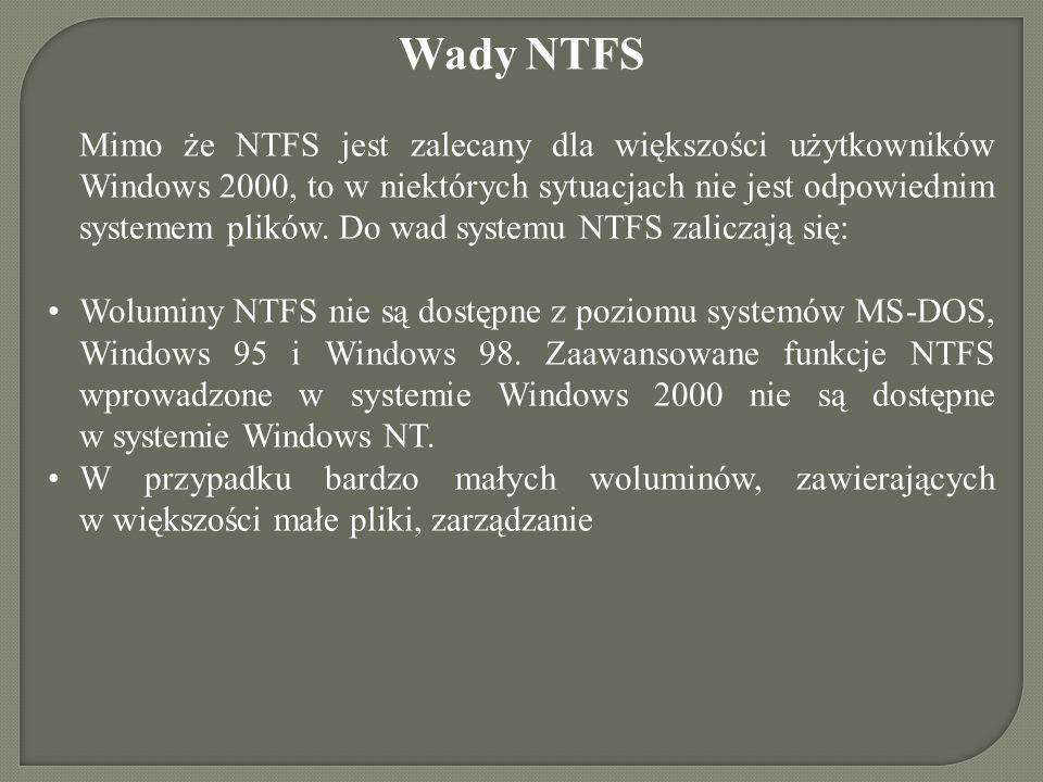 Wady NTFS