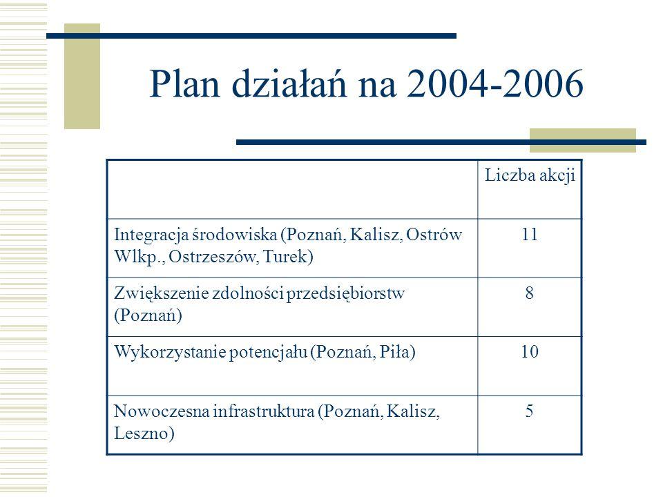 Plan działań na 2004-2006 Liczba akcji