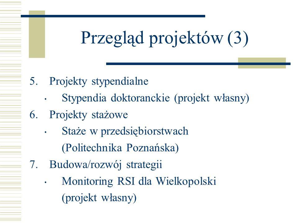 Przegląd projektów (3) Projekty stypendialne