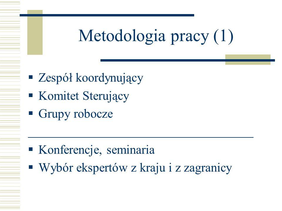 Metodologia pracy (1) Zespół koordynujący Komitet Sterujący