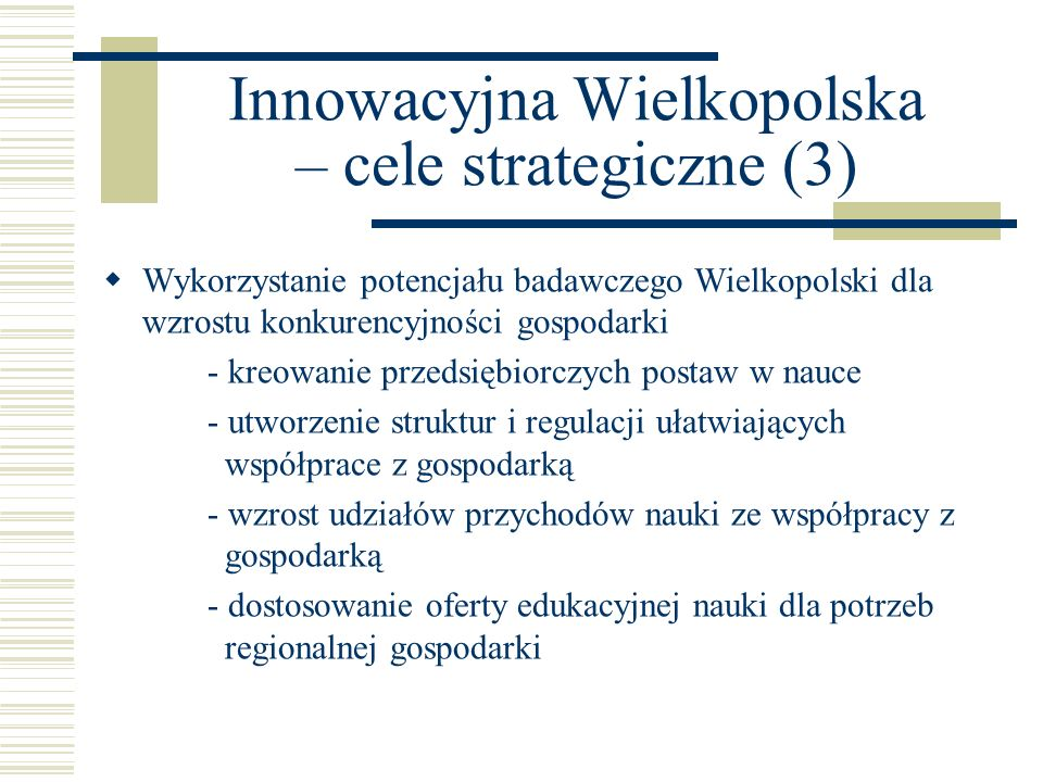 Innowacyjna Wielkopolska – cele strategiczne (3)