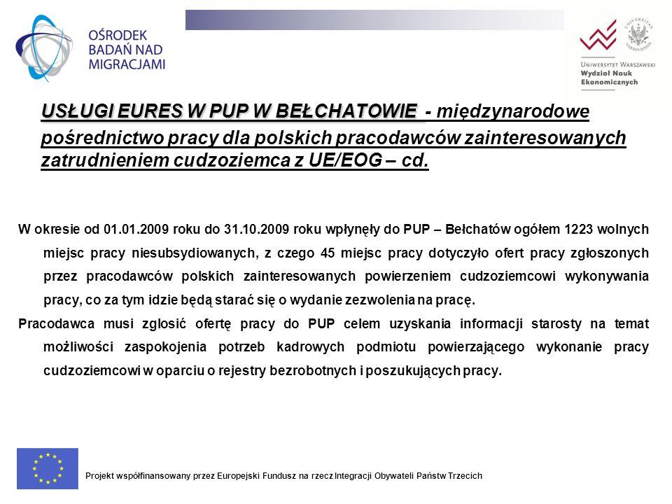 USŁUGI EURES W PUP W BEŁCHATOWIE - międzynarodowe pośrednictwo pracy dla polskich pracodawców zainteresowanych zatrudnieniem cudzoziemca z UE/EOG – cd.