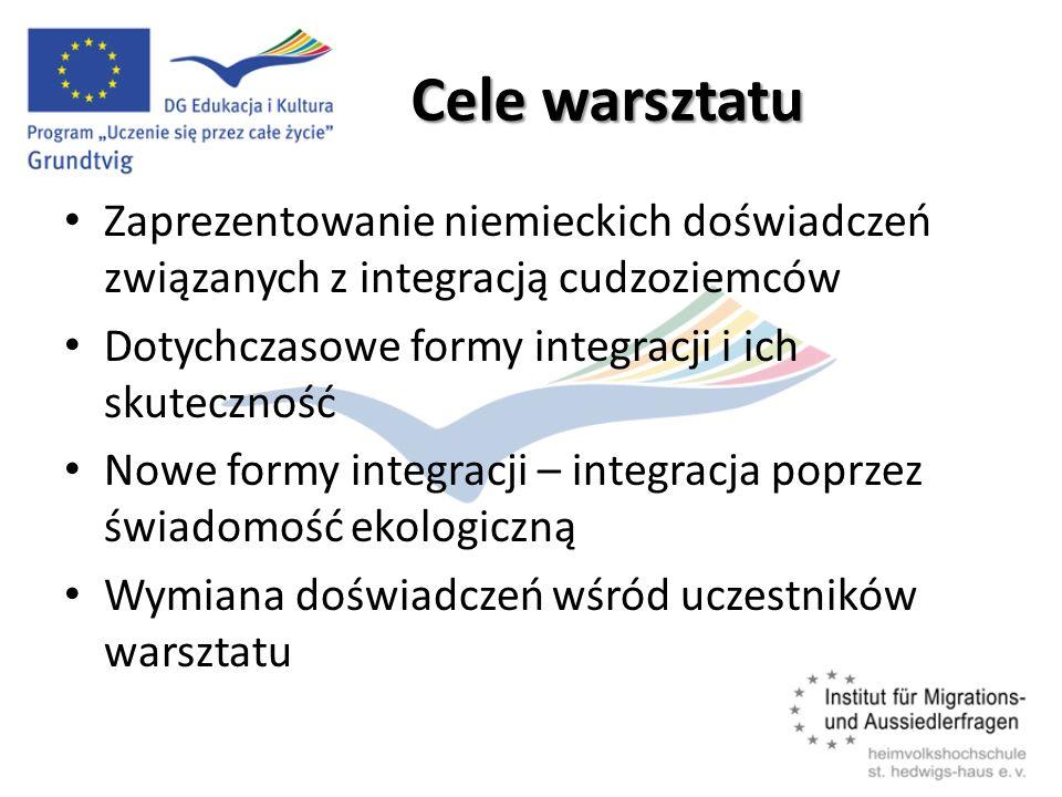 Cele warsztatu Zaprezentowanie niemieckich doświadczeń związanych z integracją cudzoziemców. Dotychczasowe formy integracji i ich skuteczność.