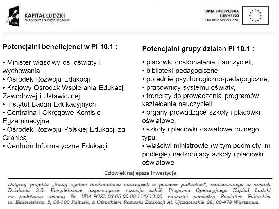 Potencjalni beneficjenci w PI 10.1 :
