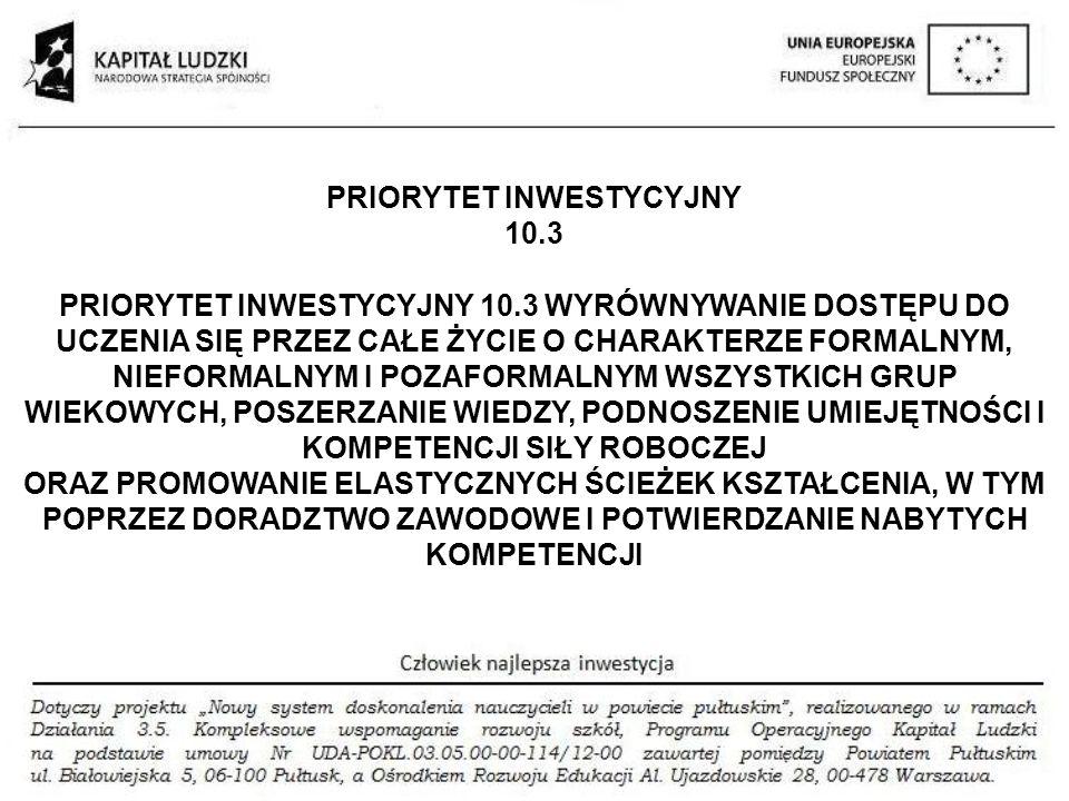 PRIORYTET INWESTYCYJNY 10.3