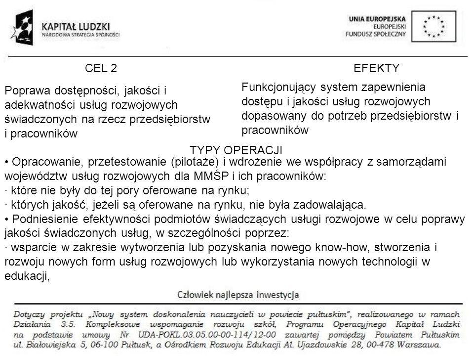 CEL 2 EFEKTY. Funkcjonujący system zapewnienia dostępu i jakości usług rozwojowych dopasowany do potrzeb przedsiębiorstw i pracowników.