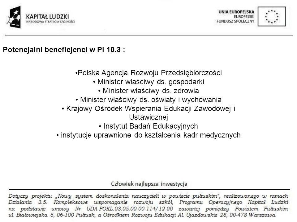 Potencjalni beneficjenci w PI 10.3 :