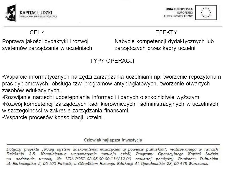 CEL 4 EFEKTY. Poprawa jakości dydaktyki i rozwój systemów zarządzania w uczelniach.