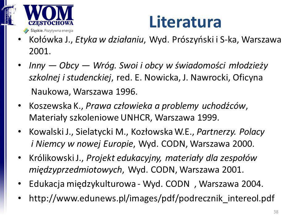 Literatura Kołówka J., Etyka w działaniu, Wyd. Prószyński i S-ka, Warszawa 2001.