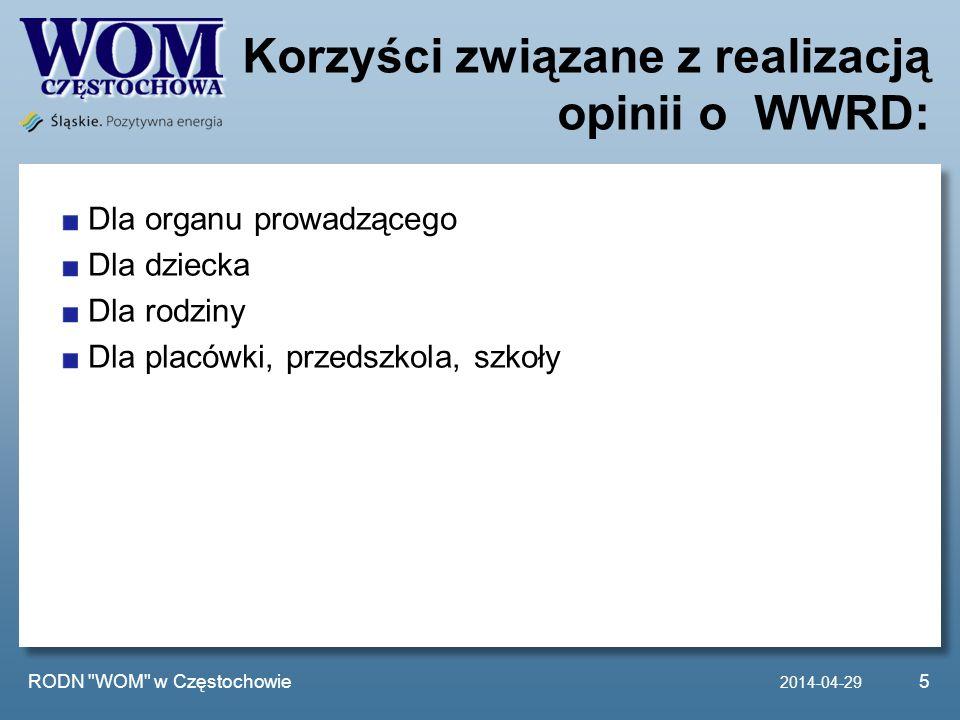Korzyści związane z realizacją opinii o WWRD: