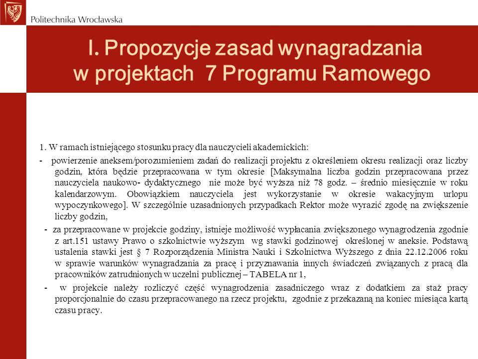 I. Propozycje zasad wynagradzania w projektach 7 Programu Ramowego