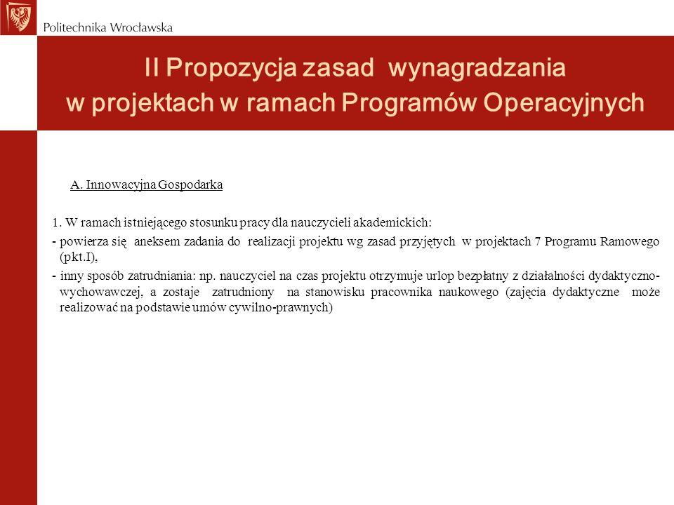 II Propozycja zasad wynagradzania w projektach w ramach Programów Operacyjnych