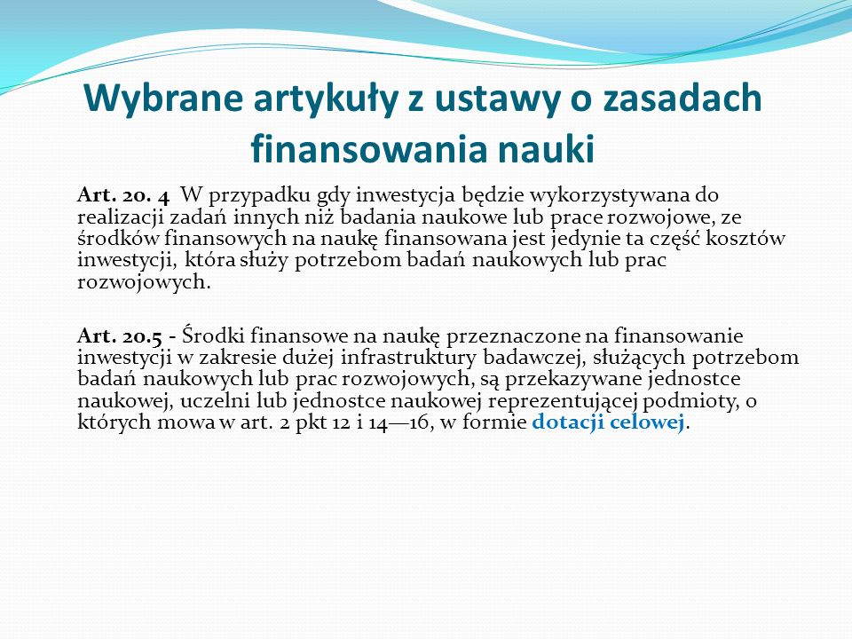 Wybrane artykuły z ustawy o zasadach finansowania nauki