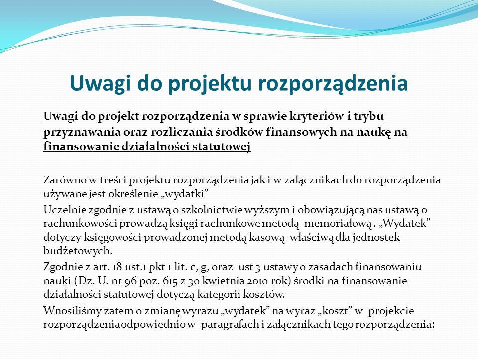 Uwagi do projektu rozporządzenia