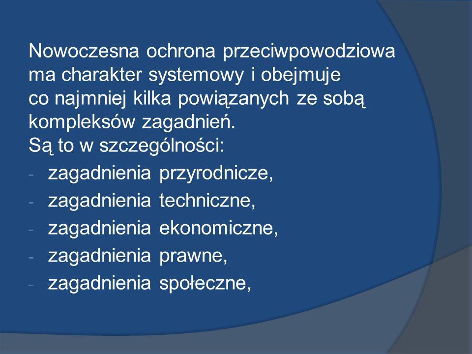 Nowoczesna ochrona przeciwpowodziowa ma charakter systemowy i obejmuje co najmniej kilka powiązanych ze sobą kompleksów zagadnień. Są to w szczególności: