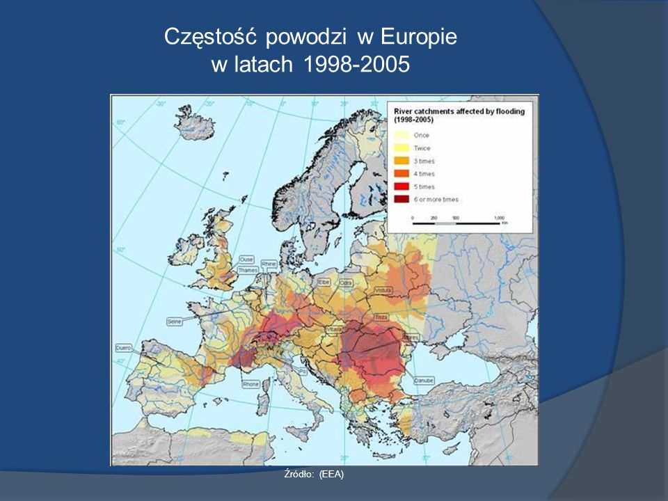 Częstość powodzi w Europie w latach 1998-2005