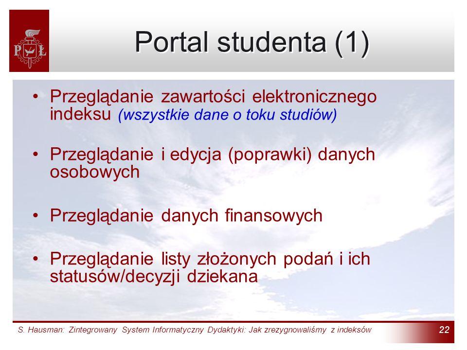 Portal studenta (1) Przeglądanie zawartości elektronicznego indeksu (wszystkie dane o toku studiów)