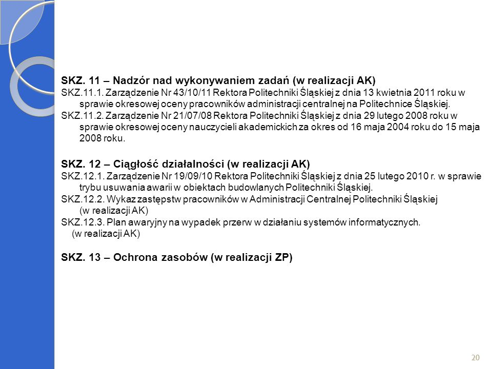 SKZ. 11 – Nadzór nad wykonywaniem zadań (w realizacji AK)