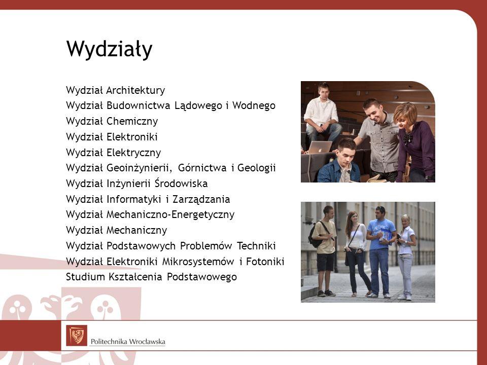 Wydziały Wydział Architektury Wydział Budownictwa Lądowego i Wodnego