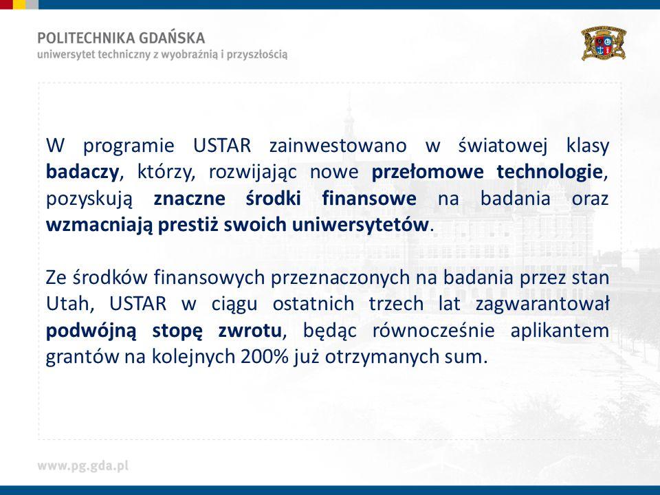 W programie USTAR zainwestowano w światowej klasy badaczy, którzy, rozwijając nowe przełomowe technologie, pozyskują znaczne środki finansowe na badania oraz wzmacniają prestiż swoich uniwersytetów.