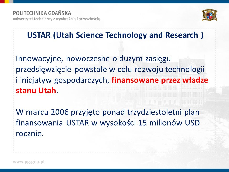 USTAR (Utah Science Technology and Research )