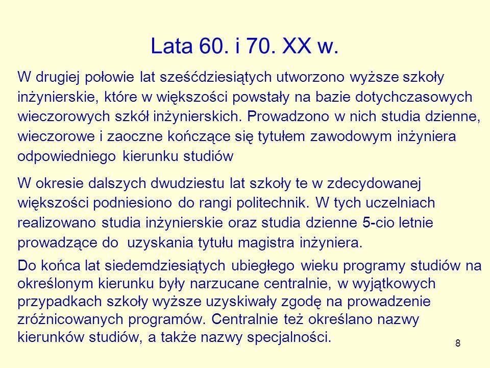 Lata 60. i 70. XX w.