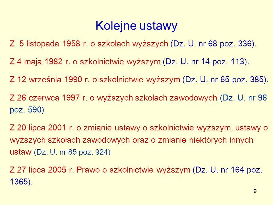 Kolejne ustawy Z 5 listopada 1958 r. o szkołach wyższych (Dz. U. nr 68 poz. 336). Z 4 maja 1982 r. o szkolnictwie wyższym (Dz. U. nr 14 poz. 113).