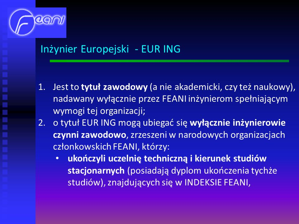 Inżynier Europejski - EUR ING